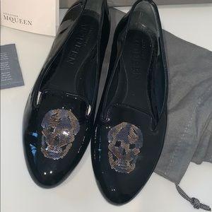Alexander McQueen Patent Leather Skull Flats